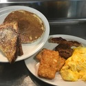 """Big Fox"" - <p>1 pancake, 1 French Toast, 2 eggs any style, breakfast meat &amp; 1 side dish </p>"